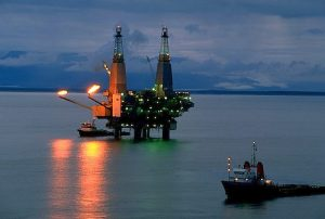 Oil production platform and supoort ships Alaska