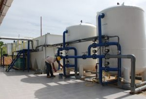 Fasilitas Water Treatment Plant (WTP) T-300 di tambang PT Adaro Indonesia.