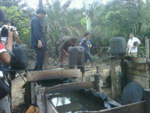 Salah satu lokasi pencurian minyak mentah di Sumsel.