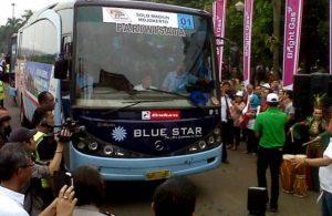 "Suasana pemberangkatan ""Mudik Gratis Pertamina"" di Jakarta, Senin, 5 Agustus 2013."
