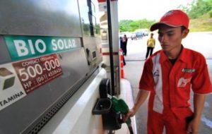 Penjualan biosolar di SPBU Pertamina.