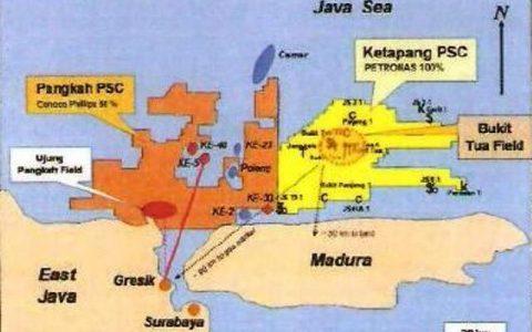 Peta Blok Pangkah dan Blok Ketapang PSC, dua lapangan gas yang dimiliki PGN lewat anak usahanya, PT Saka Energi Indonesia.