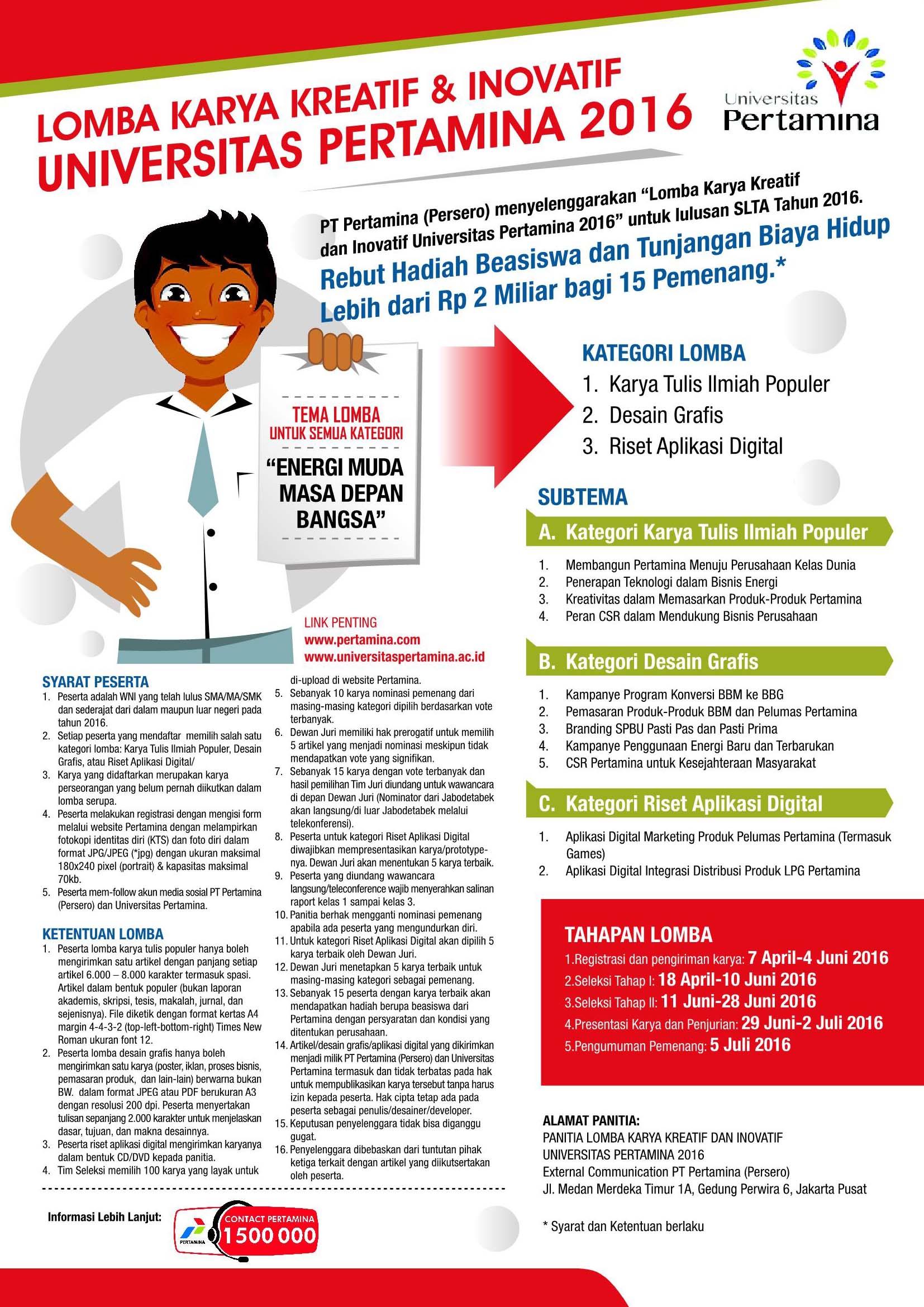 Lomba Karya Kreatif & Inovatif Universitas Pertamina 2016