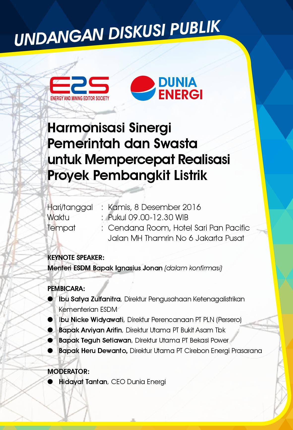 E2s Dan Dunia Energi Gelar Diskusi Soal Listrik Kamis 8 Desember Dunia Energi