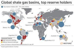 Peta potensi shale gas di seluruh dunia.