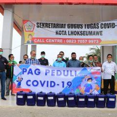 Perta Arun Gas Serahkan Bahan Baku Disinfektan untuk Penanganan Covid-19
